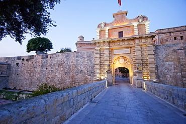 Main Gate at dusk,, Mdina, Malta