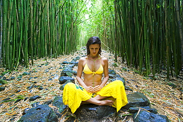 Hawaii, Maui, Kipahulu, Woman meditating in bamboo forest.