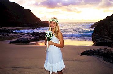 Hawaii, Oahu, Eternity Beach, Portrait of a newlywed bride