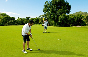 Hawaii, Oahu, Honolulu, Pali Golf Course, A local golfer puts at the fifth hole with his friend.