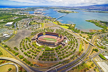 Hawaii, Oahu, Aerial shot of Aloha Stadium.
