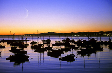 California, Monterey Bay, Fishing boats silhouetted against sunset, Crescent moon.