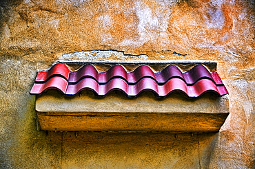 Red Tile and Cracks, New Mexico, Rustic detail of door canopy.