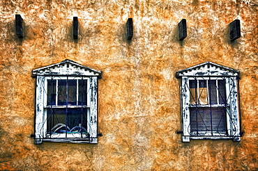 Windows I, New Mexico, Two windows on adobe wall.