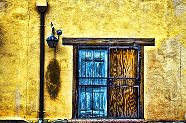 Walls and Details II, New Mexico, Details of colorful wooden doorway and wall.