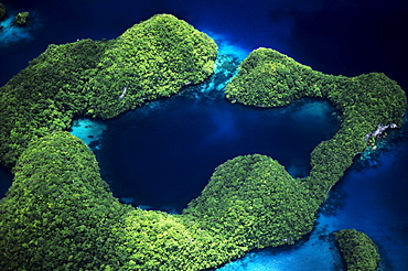 Micronesia, Palau, Rock Islands, Aerial of Rock Islands and lagoon.
