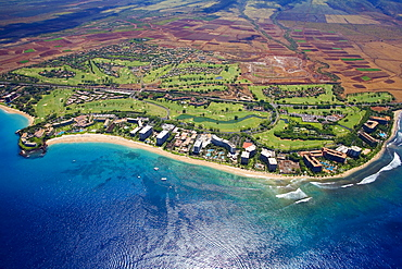 Hawaii, Maui, Aerial of Kaanapali Resort Area.