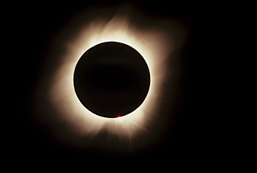 Hawaii, July 11, 1991, Solar Eclipse, Totality with solar flares.