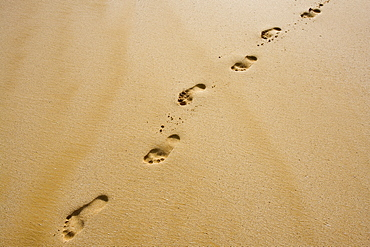 Hawaii, Maui, Makena State Park, Oneloa or Big Beach, Footprints in the sand.