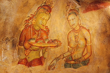 Sri Lanka, Sigiriya Rock, Ancient painting on cave wall.