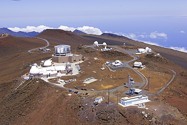 Hawaii, Maui, Aerials of Science City, view of telescopes on the top of Haleakala Crater.