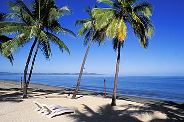 Fiji, Nadi Bay, Sheraton resort, white chairs on sandy beach, palm trees and shadows.