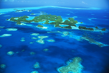 Micronesia, Palau, Aerial of Rock Islands, blue ocean