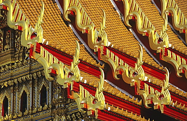 Thailand, Bangkok, Wat Benjamabophit (Marble Temple) closeup of colorful detail.