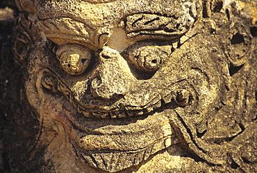 Burma (Myanmar), Bagan, Sulamani Temple, close-up of stone god sculpture.