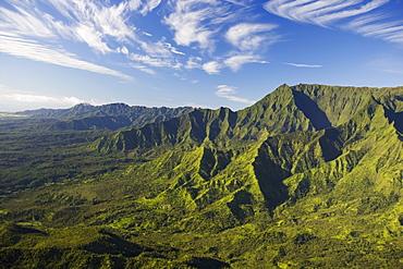 Hawaii, Kauai, Aerial scenic of lush mountains, valleys, ridges, plateaus.