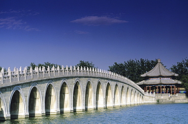 China, Summer Palace, Seventeen Arch Bridge, looking across to outdoor pavilion