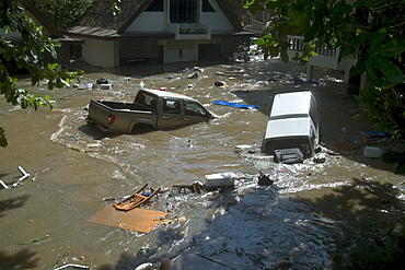 Thailand, Phuket, the streets flood with water in the 12/04 Tsunami.