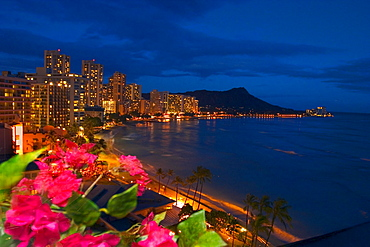 Hawaii, Oahu, Nighttime view at Waikiki, [For use up to 13x20 only]