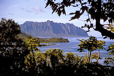Hawaii, Oahu, View from shadows of Kaneohe Bay in afternoon.