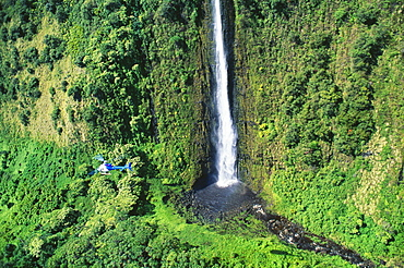 Hawaii, Big Island, Hamakua, distant view of large waterfall, helicopter in flight