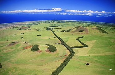 Hawaii, Big Island, North Kohala, Aerial view with Maui in the distance