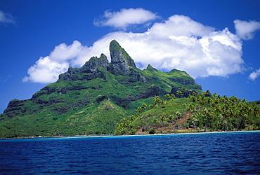 French Polynesia, Bora Bora, as viewed from the blue lagoon