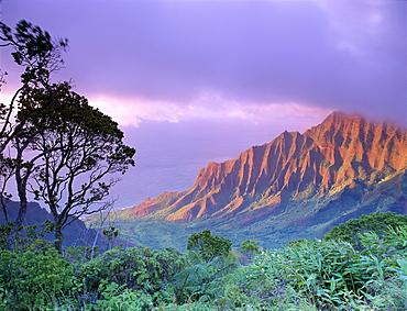 Hawaii, Kauai, Na Pali Coast, Kalalau Valley, Kaaalahina Ridge, purple sky B1535