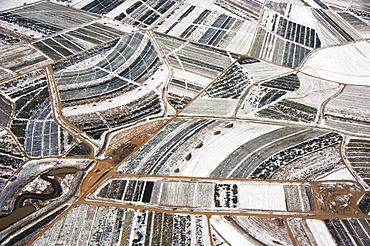 Aerial image of winter fallow agricultural land on the upper eastern shore of Maryland; United Sates of America