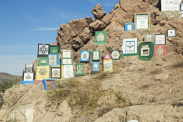 British Indian Regimental Badges Carved Into The Rock Face, Khyber Pass, Federally Administered Tribal Areas, Pakistan