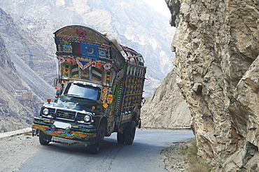 Painted And Decorated Pakistani Truck On Highway S1 Between Skardu And Gilgit In Baltistan, Northern Areas, Pakistan