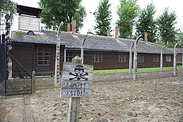 Stop Sign, Auschwitz Concentration Camp Perimeter, Oswiecim, Malopolska, Poland