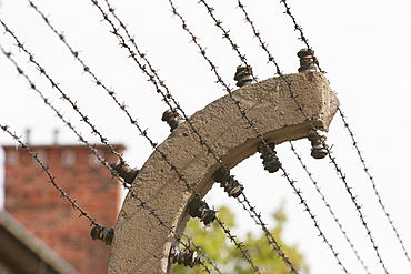 Along The Auschwitz Concentration Camp Perimeter Electrified Barbed Wire Was Installed 4 M High, Oswiecim, Malopolska, Poland