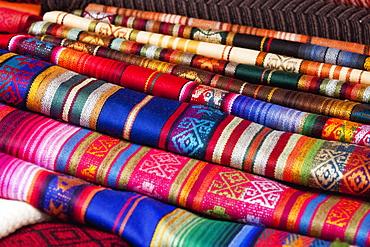 Andean Textiles For Sale At The Saturday Crafts Market, Otavalo, Imbabura, Ecuador