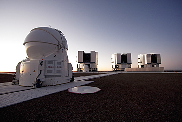 Auxiliary Telescope, Sun Unit Telescope 1, Moon Unit Telescope 2 & Southern Cross Unit Telescope 3, Belonging To The Very Large Telescope (Vlt) Operated By The European Southern Observatory At Paranal, Antofagasta Region, Chile