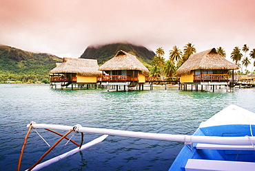 French Polynesia, Tahiti, Huahine, Bungalows Of Hotel Sofitel
