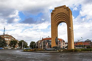 Statue of French-Armenian singer Charles Aznavour on Charles Aznavour Square, Gyumri, Shirak Province, Armenia