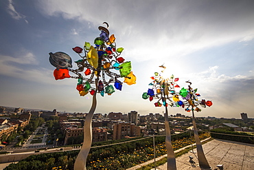 Three Glassinators, sculpture by Andrew Carson, on display at the Cafesjian Museum of Art in the Yerevan Cascade, Yerevan, Armenia
