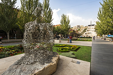 Shadows I, metal sculpture by Jaume Plensa, on display at the Cafesjian Museum of Art in the Yerevan Cascade, Yerevan, Armenia