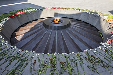 Eternal flame dedicated to the 1.5 million people killed during the Armenian Genocide in the Armenian Genocide memorial complex on Tsitsernakaberd hill, Yerevan, Armenia
