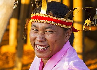 Manggarai woman wearing a traditional headdress, Melo village, Flores, East Nusa Tenggara, Indonesia