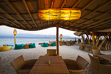Pearl Beach Lounge at dusk, Gili Trawangan, West Nusa Tenggara, Indonesia