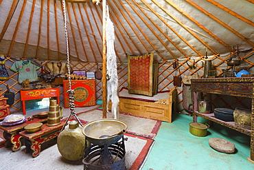 Interior of a traditional Mongolian ger (yurt) by Ongi Monastery, Saikhan-Ovoo, Dundgovi Province, Mongolia