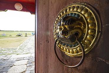 Lion-shaped door knocker on a door of the Dalai Lama Temple in the Erdene Zuu Monastery, Karakorum (Kharkhorin), Övörkhangai Province, Mongolia