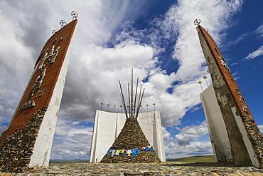 Ovoo with prayer flags in the Great Imperial Map Monument, Kharkhorin (Karakorum), Övörkhangai Province, Mongolia