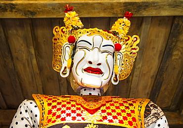 Panglembar Balinese dance mask on display at the Setia Darma House of Mask and Puppets, Tegal Bingin, Bali, Indonesia