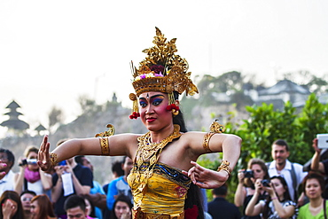 Balinese dancers using codified hand positions and gestures during a Kecak dance performance, Ulu Watu, Bali, Indonesia