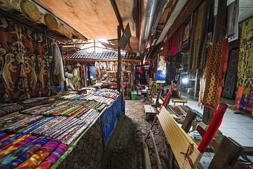 Balinese fabrics for sale in a store, Tenganan Pegringsingan, Bali, Indonesia