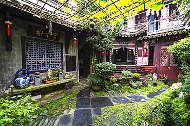Interior garden of a house, Hongcun, Anhui, China