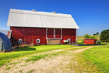 Red barn on a farm in Clayton County, Iowa, United States of America